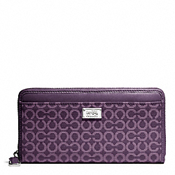 COACH F49614 Madison Needlepoint Op Art Fabric Accordion Wallet SILVER/BLACK VIOLET