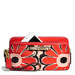 COACH F49617 Poppy Floral Scarf Print Double Zip Wallet