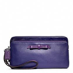 COACH F49623 Poppy Colorblock Leather Double Zip Wallet RL/BRIGHT ORCHID