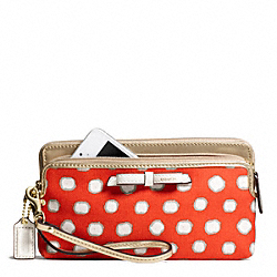 COACH F49624 Poppy Mini Dot Double Zip Wallet