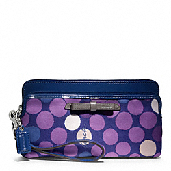 COACH F49625 Poppy Watercolor Dot Double Zip Wallet