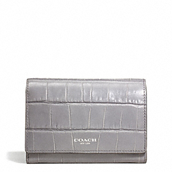COACH F49640 Embossed Croc Compact Clutch
