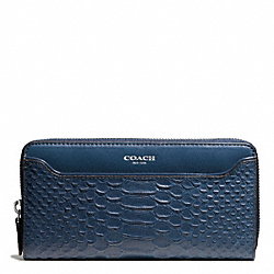 COACH F49658 Embossed Python Leather Accordion Zip Wallet