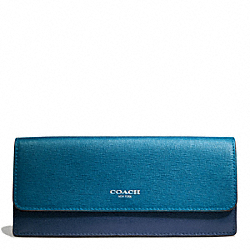 COACH F49670 Saffiano Colorblock Leather Soft Wallet