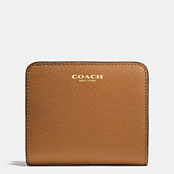 COACH F49671 Small Wallet In Saffiano Leather LIGHT GOLD/BURNT CAMEL