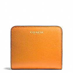 COACH F49671 Saffiano Leather Small Wallet LIGHT GOLD/BRIGHT MANDARIN