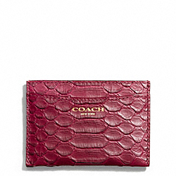 COACH F49689 Card Case In Embossed Python Leather