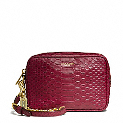 COACH F49696 Flight Wristlet In Python Embossed Leather
