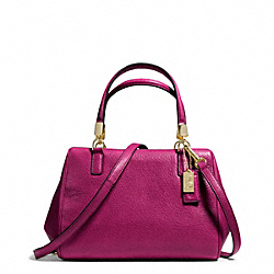 COACH F49720 - MADISON LEATHER MINI SATCHEL LIGHT GOLD/CRANBERRY