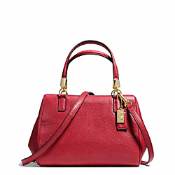 COACH F49720 - MADISON LEATHER MINI SATCHEL LIGHT GOLD/SCARLET