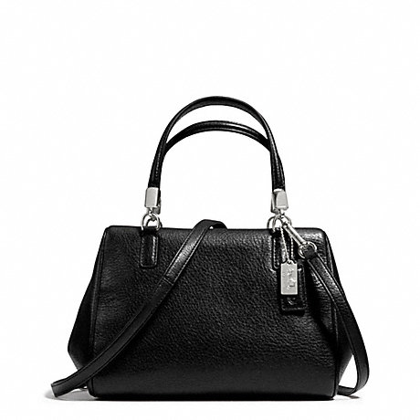 c14f0aac453d8 ... clearance coach f49720 madison leather mini satchel silver black 43d64  0df34