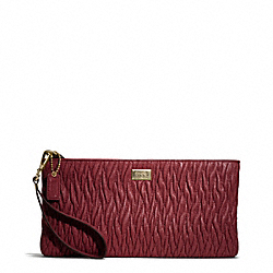 COACH F49721 Madison Gathered Twist Flat Clutch LIGHT GOLD/BRICK RED