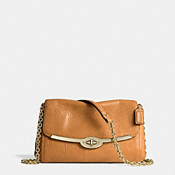 COACH F49738 - MADISON CHAIN CROSSBODY IN LEATHER  LIGHT GOLD/BURNT CAMEL