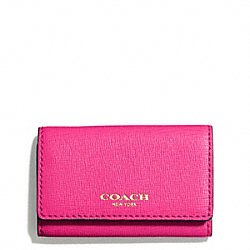 COACH F49745 Saffiano Leather 6 Ring Key Case LIGHT GOLD/PINK RUBY