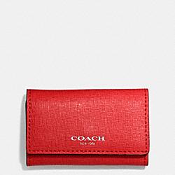 COACH F49745 Saffiano Leather 6 Ring Key Case SILVER/VERMILLION