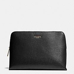 COACH F49748 Cosmetic Case In Saffiano Leather  BRASS/BLACK