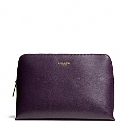 COACH F49748 Saffiano Leather Cosmetic Case BRASS/BLACK VIOLET