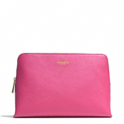 COACH F49748 Saffiano Leather Cosmetic Case BRASS/PINK
