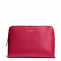 COACH F49748 Saffiano Leather Cosmetic Case BRASS/SCARLET