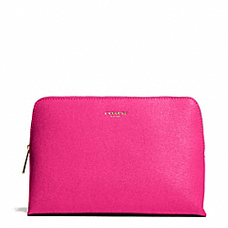 COACH F49748 Saffiano Leather Cosmetic Case LIGHT GOLD/PINK RUBY