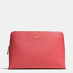 COACH F49748 Cosmetic Case In Saffiano Leather LIGHT GOLD/LOGANBERRY