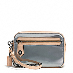 COACH F49754 Poppy Mirror Metallic Leather Flight Wristlet PEWTER/PEWTER