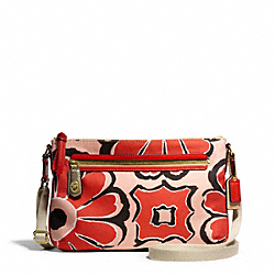 COACH F49769 Poppy Floral Scarf Print East/west Swingpack BRASS/DESERT SKY/NEUTRAL