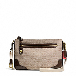 COACH F49776 - POPPY SIGNATURE C MINI OXFORD EAST/WEST SWINGPACK BRASS/KHAKI/MAHOGANY