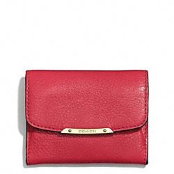 COACH F49779 Madison Leather Flap Card Case LIGHT GOLD/SCARLET