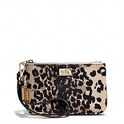 COACH F49791 Madison Ocelot Print Small Wristlet LIGHT GOLD/KHAKI