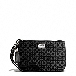 COACH F49793 Madison Needlepoint Op Art Small Wristlet SILVER/BLACK