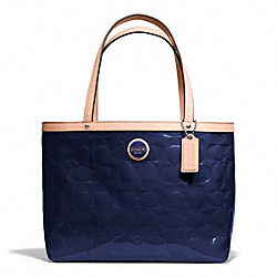 SIGNATURE STRIPE EMBOSSED PATENT TOP HANDLE TOTE - f49826 - SILVER/NAVY/TAN