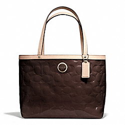COACH F49826 - SIGNATURE STRIPE EMBOSSED PATENT TOP HANDLE TOTE SILVER/BROWN/TAN