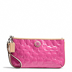 COACH F49827 Signature Stripe Embossed Patent Large Wristlet