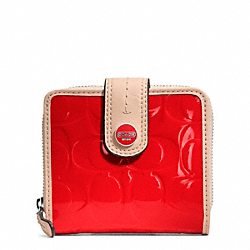 COACH F49828 Signature Stripe Embossed Patent Slim Medium Wallet SILVER/VERMILLION/TAN