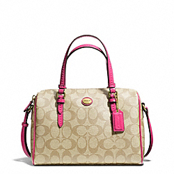 PEYTON SIGNATURE BENNETT MINI SATCHEL - f49862 - BRASS/LT KHAKI/POMEGRANATE