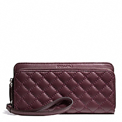 COACH F49870 Park Quilted Leather Double Accordion Zip SILVER/BURGUNDY