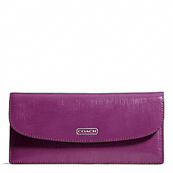COACH F49876 Darcy Patent Leather Soft Wallet SILVER/AMETHYST