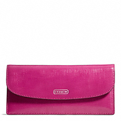 COACH F49876 Darcy Patent Leather Soft Wallet SILVER/BRIGHT MAGENTA