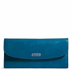 COACH F49876 Darcy Patent Leather Soft Wallet SILVER/TEAL