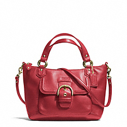 COACH F49882 Campbell Leather Mini Tote Crossbody BRASS/CORAL RED