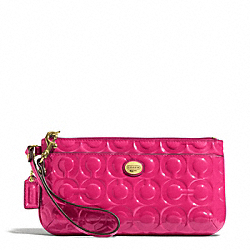 COACH F49883 Peyton Op Art Embossed Patent Go-go Wristlet BRASS/POMEGRANATE