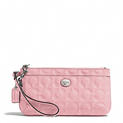 COACH F49883 Peyton Op Art Embossed Patent Go-go Wristlet SILVER/PINK TULLE