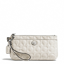 COACH F49883 Peyton Op Art Embossed Patent Go-go Wristlet SILVER/IVORY