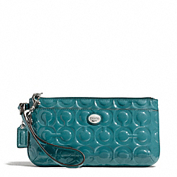 COACH F49883 Peyton Op Art Embossed Patent Go-go Wristlet SILVER/MINERAL