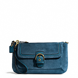COACH F49886 Campbell Suede Buckle Clutch BRASS/TEAL