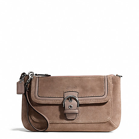 COACH f49886 CAMPBELL SUEDE BUCKLE CLUTCH SILVER/FLINT