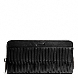COACH F49889 Taylor Gathered Leather Accordion Zip SILVER/BLACK