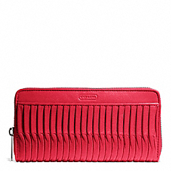 COACH F49889 Taylor Gathered Leather Accordion Zip SILVER/RED