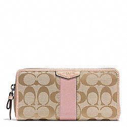 COACH F49892 Signature Stripe Accordion Zip Wallet SILVER/LIGHT KHAKI/SHELL PINK